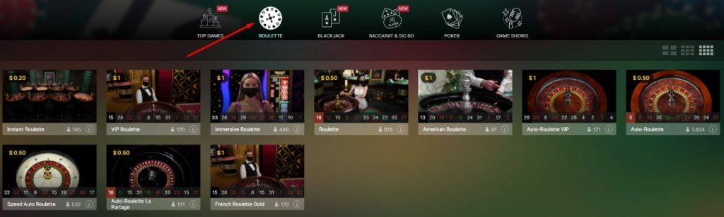 Click on Roulette
