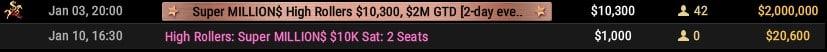 Tournaments Section Million$